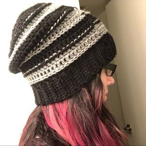 Handmade knitted beanie striped gray and black